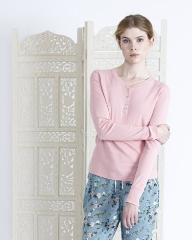 Light pinkCarolyn Donnelly Eclectic long-sleeved ribbed henley top