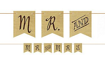 Rustic Wedding Pennant Banner  Party City