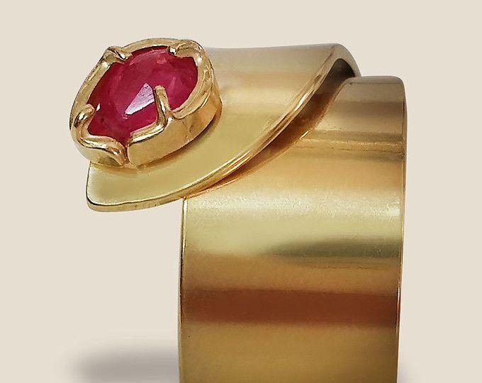 Frauen-Ermächtigung-Ring mit Rubin - ein Fetility Ring - 14 k Goldfilled verstellbarer Ring