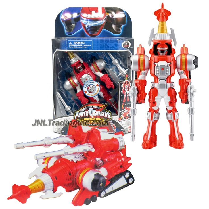 """Bandai Power Rangers Operation Overdrive Series 8"""" Tall Figure - TURBO DRILL RED POWER RANGER that Morphs to Red Drill Driver"""