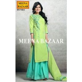 Green chanderi sharara suit