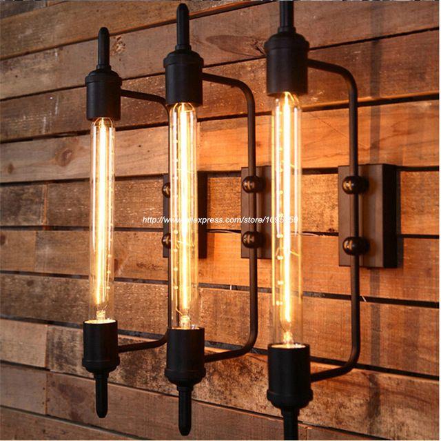 送料無料ヴィンテージ黒蒸気パイプ金属壁燭台器具ライトバー壁ランプ1送料レトロ電球