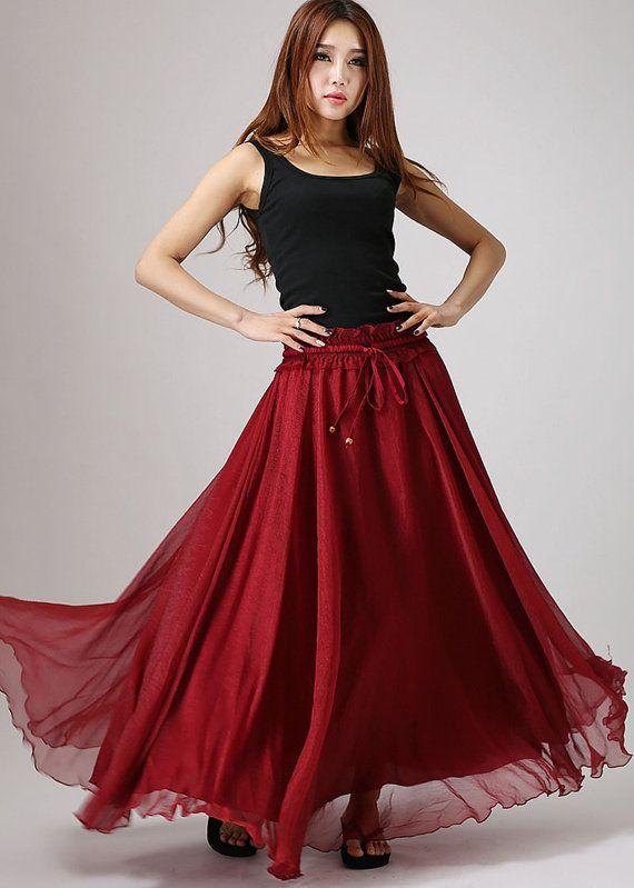 Femme jupe longue jupe en mousseline de soie élastique rouge