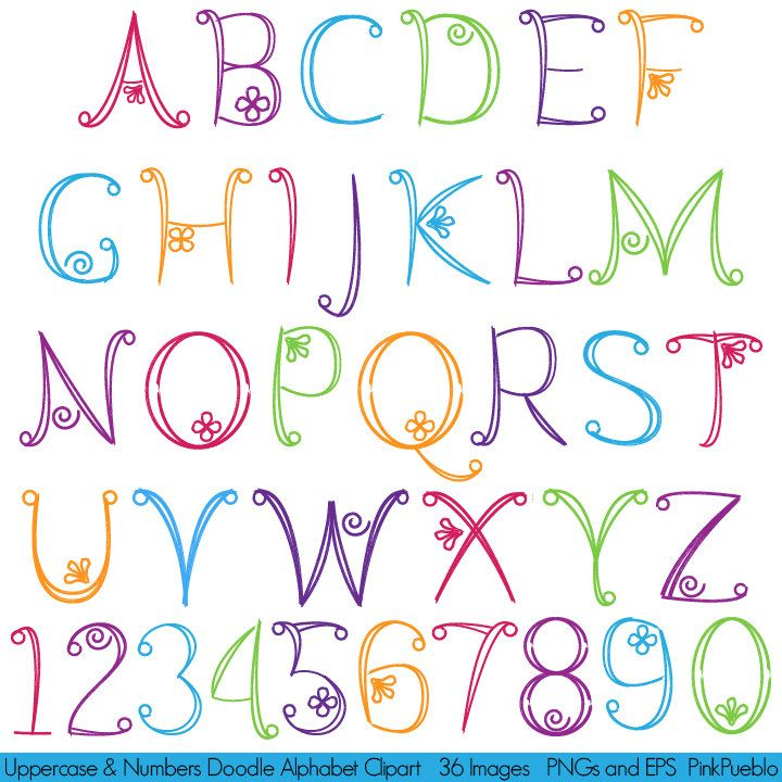 Doodle Alphabet Hand Drawn Font Uppercase and by PinkPueblo