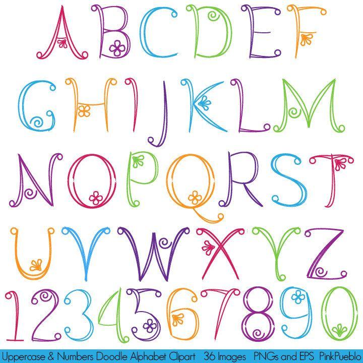Doodle de alfabeto mano dibujada letra mayúsculas y números