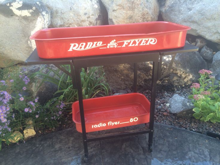 Radio Flyer wagons repurposed into a patio/entertainment cart.