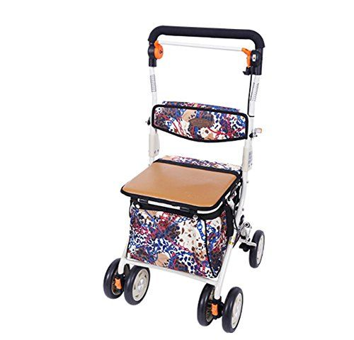 MXXYY 002B Deluxe Lightweight Elderly Walk & Rest Folding 4 Wheel Shopping Trolley with Seat and Safety Brake