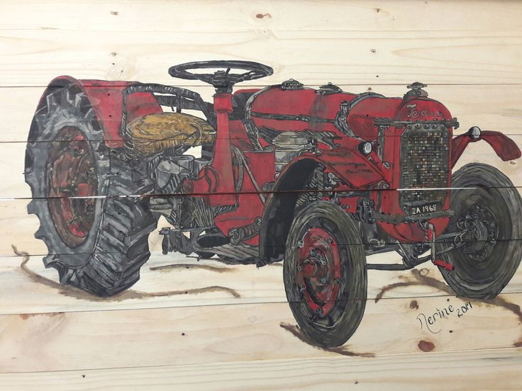 Old rusted Masey Ferguson tractor on Pallet Wood 1m x 60cm Acrylic paint by Nerine Niemand