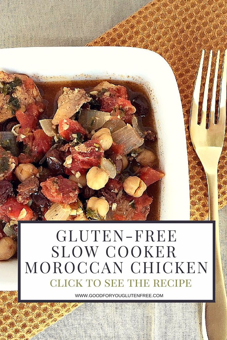 This recipe is sooo good! Gluten-Free Moroccan Chicken Slow Cooker Recipe - click on the image to see the full recipe. This is the perfect gluten-free slow cooker dinner! #goodforyouglutenfree