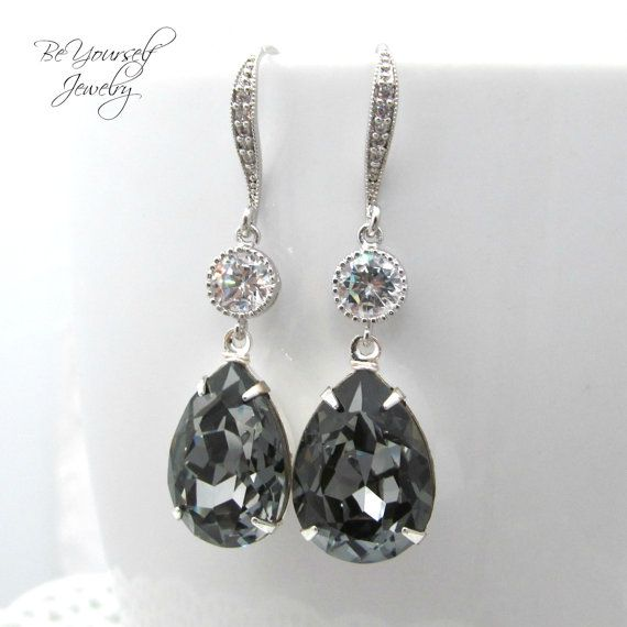 Dark Grey Bridal Earrings Charcoal Teardrop Bride Earring Swarovski Crystal Silver Night Wedding Jewelry Gray Bridesmaid Gift Cubic Zirconia In 2018