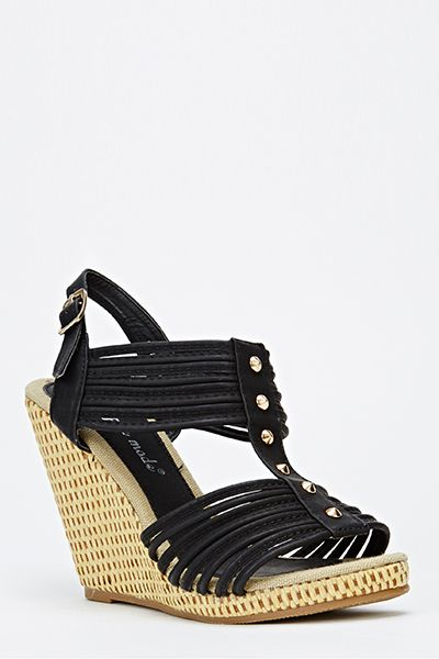 Woven Wedge Strappy Sandals