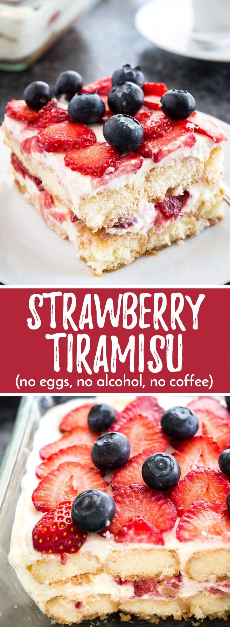 This Strawberry Tiramisu is the perfect no-bake summer dessert made with fresh strawberries, ladyfingers, and mascarpone! This summer version is made without coffee, alcohol, and raw eggs and can be enjoyed by the whole family.