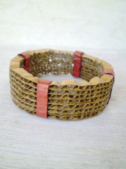 Recycled Cardboard Bracelet Paper Jewelry by LeftysHandcrafts, €12.00