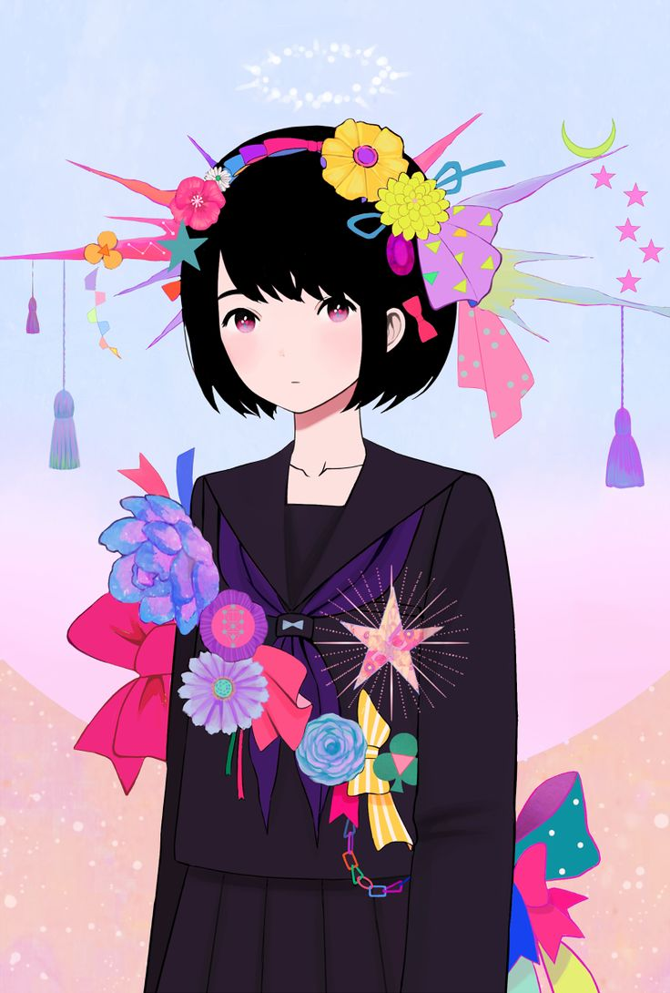 This gif has everything glitch pixel art graphic design vaporwave - Manga Anime Anime Art Cartoon Art Anime Girls Female Reference Abstract Paint Colors Fantasy