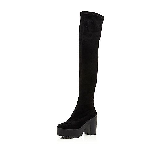 Black cleated platform over the knee boots - knee high boots - shoes / boots - women