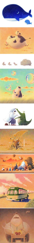 日本插画师Yuji Hasegawa。好喜欢这种风格。【阿团丸子】