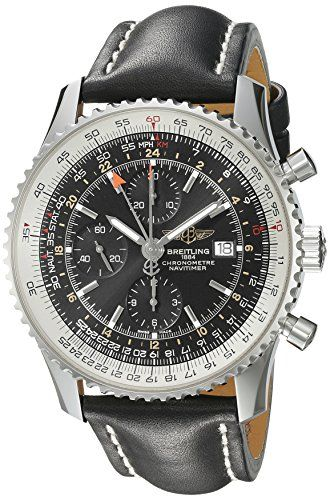 Men's Wrist Watches - Breitling Mens A2432212B726BKLT Black Dial Navitimer World Watch *** Details can be found by clicking on the image.