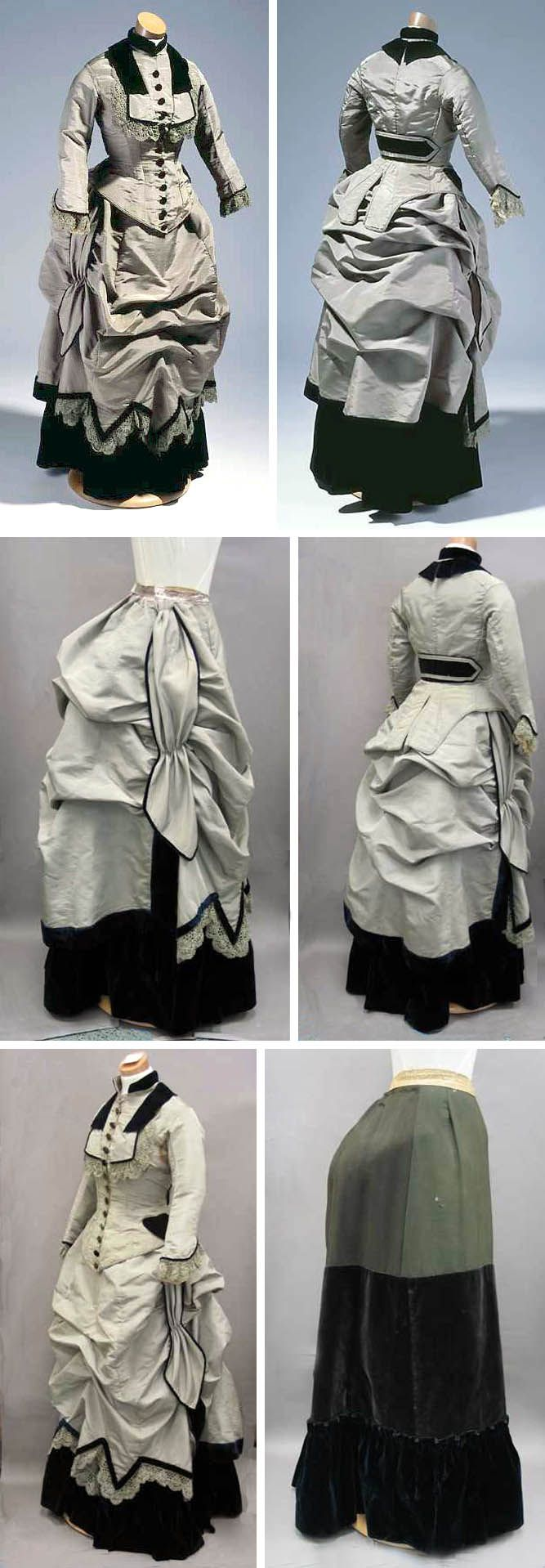 Three-piece bustle dress (jacket, skirt, underskirt), ca. 1875, of gray faille with underskirt and trim of dark blue velvet. North Carolina Department of Cultural Resources