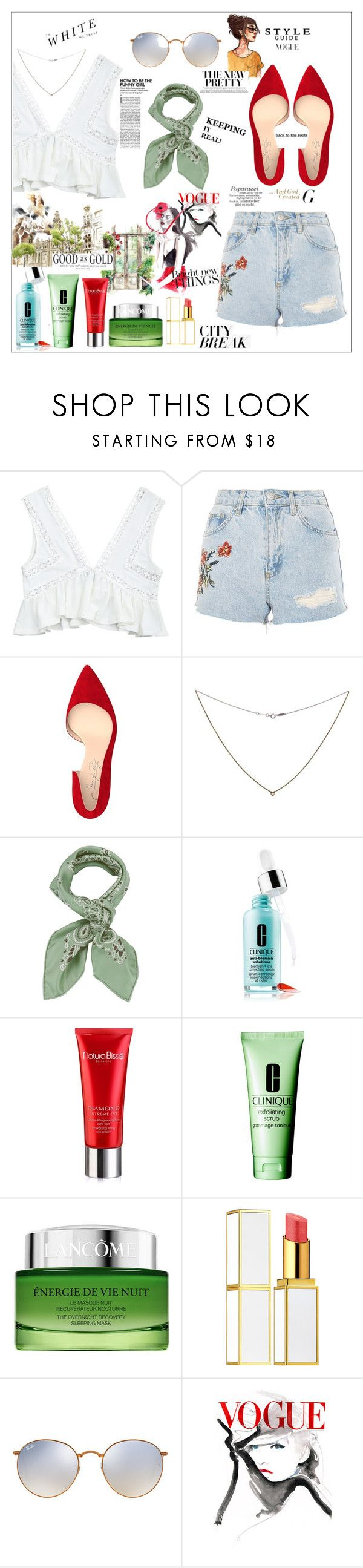 """Summer Fling"" by eleanorbr ❤ liked on Polyvore featuring Topshop, Shoes of Prey, Tiffany & Co., Manipuri, Clinique, Natura Bissé, Lancôme, Tom Ford, Ray-Ban and Leftbank Art"