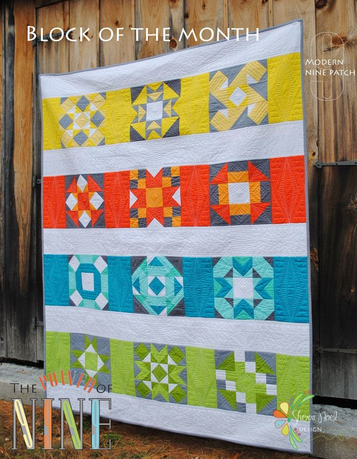"""The Power of Nine ~ 62"""" x 78"""" QuiltThis Modern Block of the Month is designed entirely with f kona colors is included.  I hope you love it as much as I do!  Check out the blog for a scrappy version quilt~a~long."""