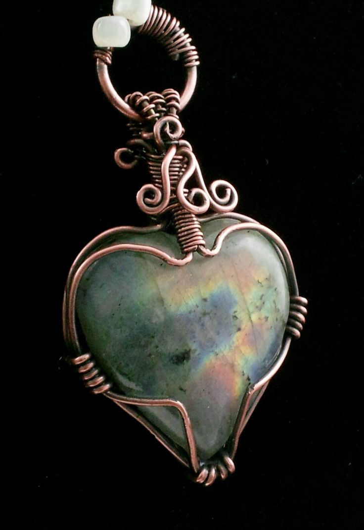 Labradorite Heart Shaped Pendant Wire Wrap Copper Patina