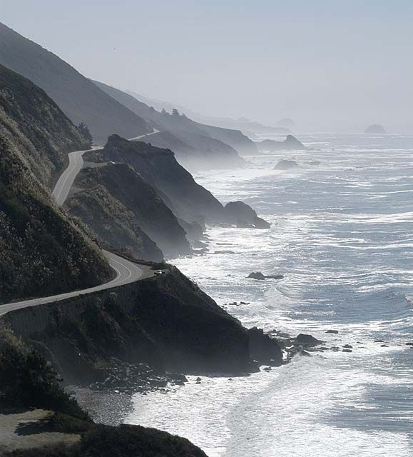 Big Sur, California. The drive down this road can be quite harrowing. You are literally on the edge of the cliff. In some years when it rains really hard, the rocks will slide and wash out the road or as in this past year the road just gave way.