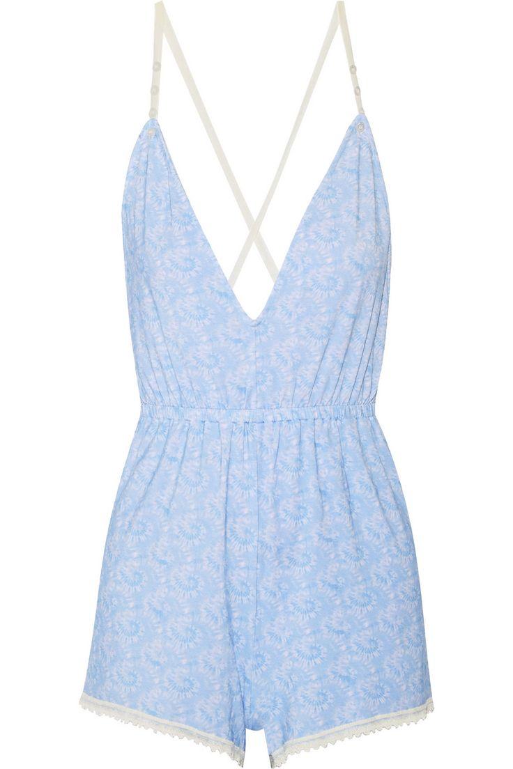Cheek Frills x Carolyn Murphy|Floral-print lace-trimmed stretch-modal playsuit|NET-A-PORTER.COM
