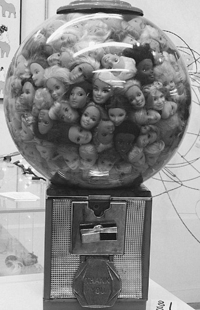 GUM BALL MACHINE FULL OF BARBIE DOLL HEADS ( Mattel / vintage / retro photograph / black white photo / creepy / weird / strange past ) - so how much is a head