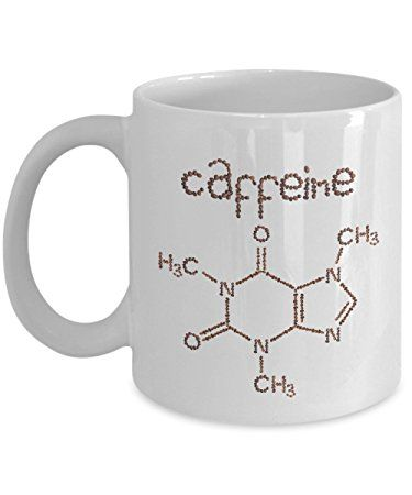 Funny Coffee Mugs: Caffeine Molecule Chemistry Coffee Mug! Perfect Inspirational Mug Gifts for Your Best Friend, Dad, Mom, Brother, Sister, Boss, Boyfriend or Girlfriend
