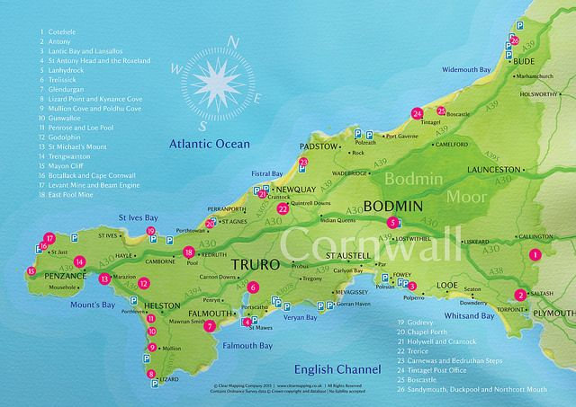 National Trust Places to Visit in Cornwall Map | Clear Mapping Co | 2014