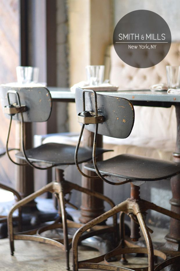 Beautiful Industrial Stools @ Smith & Mills via SpottedSF