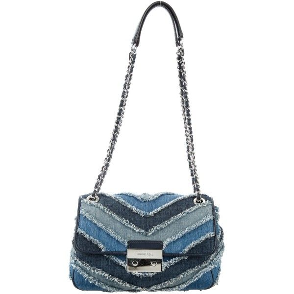 Pre-owned Michael Michael Kors Small Sloan Chevron Denim Bag ($125) ❤ liked on Polyvore featuring bags, handbags, shoulder bags, blue, blue handbags, denim handbags, denim hand bags, denim shoulder bag and hand bags