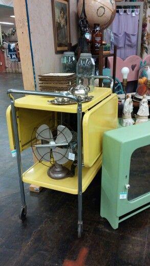 Yellow enamel midcentury utility cart -sold