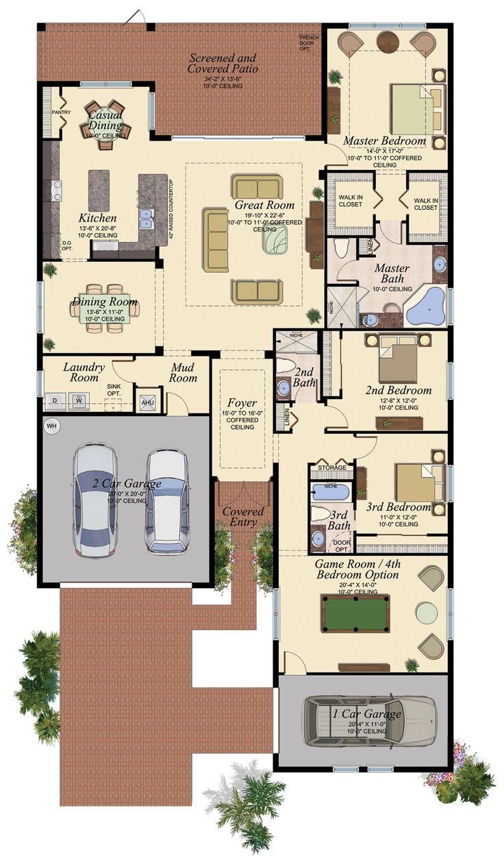 17 best images about florida homes favorite floorplans for 3 bay garage plans