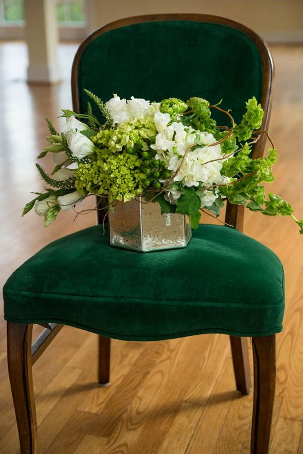 Green and white floral centerpiece for St Patrick's Day