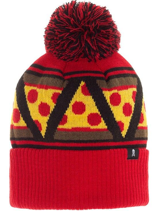"""""""Pizza Slice"""" Pom Hat by Sourpuss Clothing (Red/Yellow) #pizza #hat #puffball #inkedshop"""