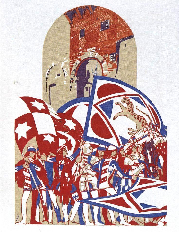 Duilio Cambellotti - Comparsa della Contrada della Pantera (1932). Su http://www.flickr.com/photos/iltesorodisiena/8289679092