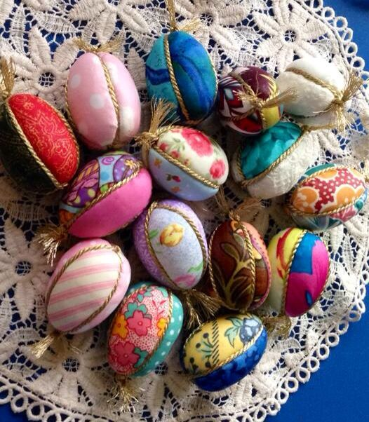 Easter eggs decoupaged with fabric