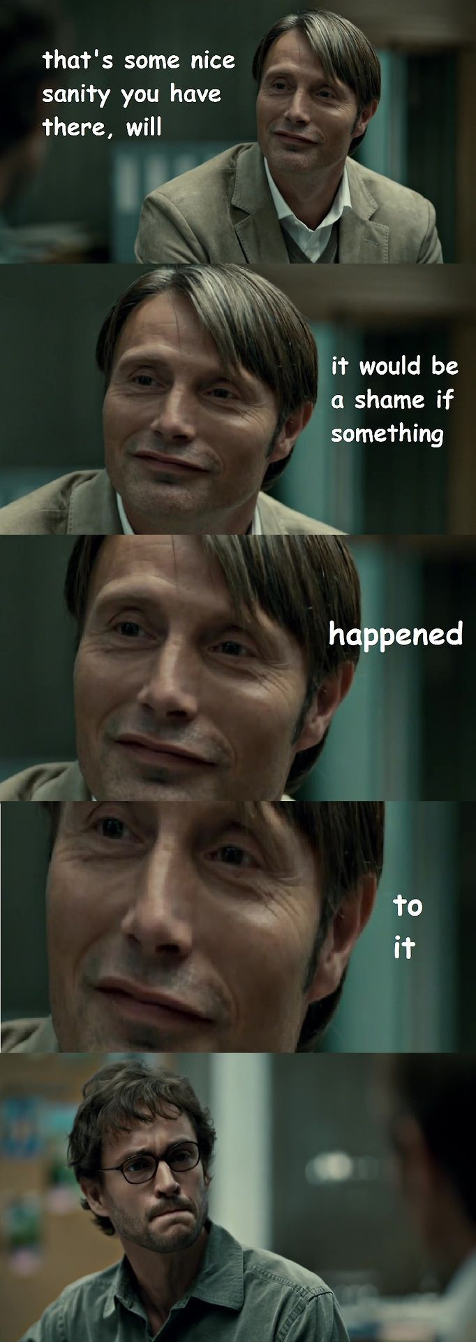 Hannibal & Will ~ Sanity / This had me crying! With laughter. Oh man...there is something wrong with all us. #Fannibals