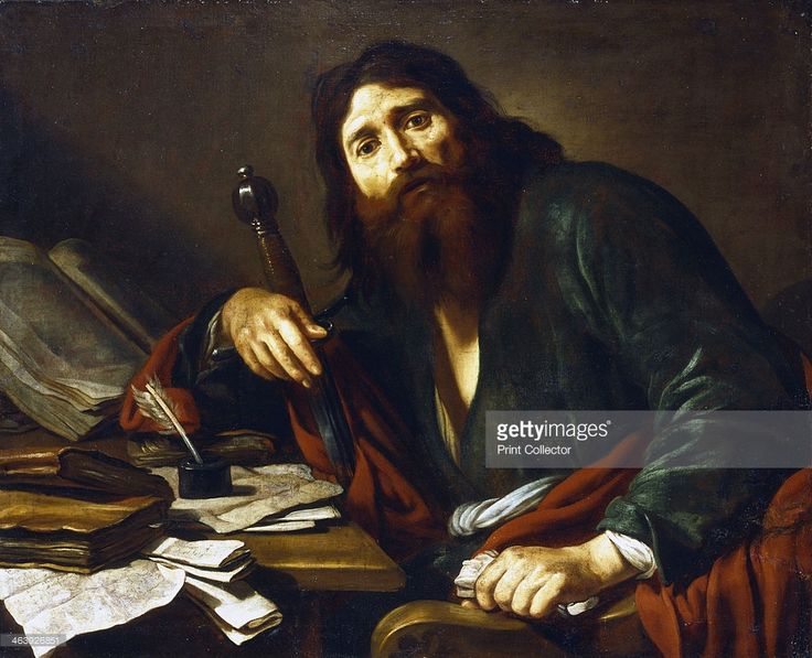 'Saint Paul the Apostle', 17th century. Saul of Tarsus (1st century) who took the name Paul after seeing a vision of Christ on the road to Damascus. A leading figure in the early Christian church, St Paul is shown seated at a table, resting his arm on a sword. In front of him are writing materials representing his letters to various Christians such as the Corinthians and Ephesians. Through his epistles Paul proved that the pen was mightier than the sword.