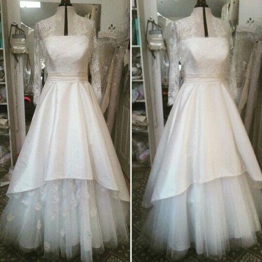Work in progress, making an A-line wedding dress in the studio. #wedding dress #lace #tulle