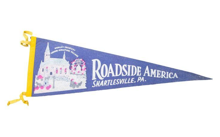 Vintage Roadside America Shartlesville PA Felt Flag Banner