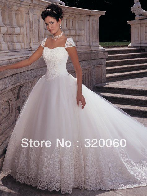 2013 Fashion White Beautiful Sweetheart Cap Sleeve Princess Floor-Length Court Train Pleat Appliques Beads Beach Wedding Dresses $180.00