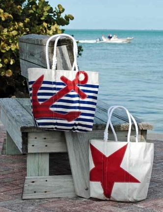 each Sea Bag product is made from a recycled sail. I like these bags alot. If you put in Sea Bags in the search button, you might see a site from Maine. But there all over in stores..