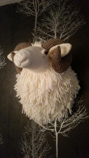 Crochet taxidermy ram head