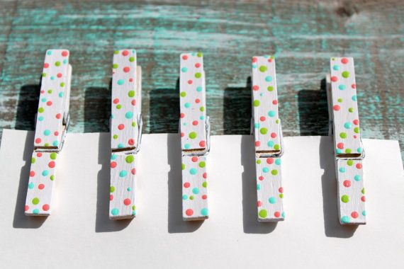 Hand painted Clothes Pins Polka dot clip holders by LoweryDesigns, $5.25
