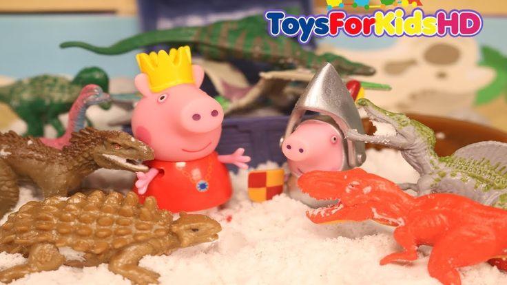 Peppa la cerdita y George encuentran Dinosaurios videos de peppa pig  y dinosaurios de juguete