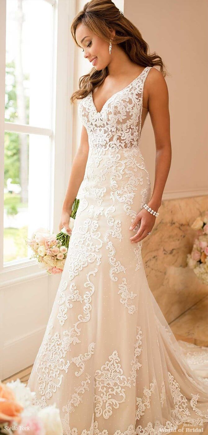 1eab34fb97e Stella York Spring 2018 Lace Wedding Dress with Sheer Cutouts