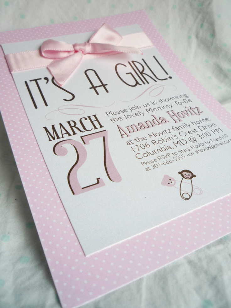 It's A Girl - Baby Shower Invitations WOW! I can't believe I'm quickly approaching 3,000 re-pins! Mention that you found me on Pinterest and receive an extra 10% off of your invitation order! Click image to be redirected to my Etsy shop!
