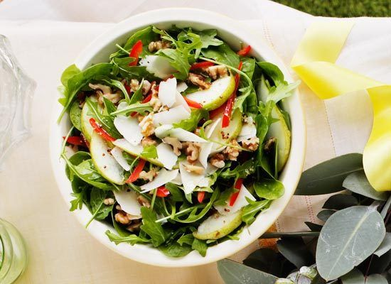 Pear, walnut and parmesan salad with mustard dressing